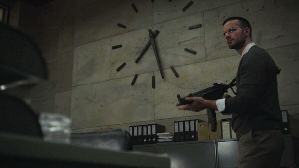 Junes-Zahdi-Rashad-Roumani--shoots-up-strategy-weapons-Counterpart-STARZ-Season-1-Episode-9-No-Mans-Land