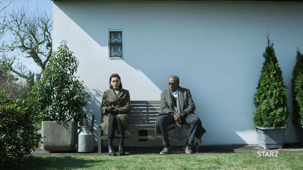 Christiane-Paul-Louis-Mahoney-Mira-and-Management-Juma-Dauerkleingarten-Counterpart-STARZ-Season-2-Episode-02-Outside-In