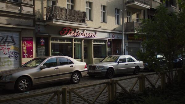 Heinrich Butcher shop in Neukölln Berlin Blutwurstmanufaktur Counterpart STARZ season 1 episode 4 Both Sides Now