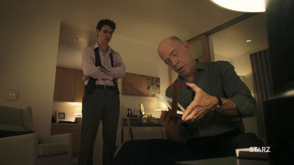 Harry-Lloyd-JK-Simmons-Peter-and-Howard-Silk-search-Quayle-home-Counterpart-Starz-Wikia-Season-1-Episode-7-The-Sincerest-Form-of-Flattery