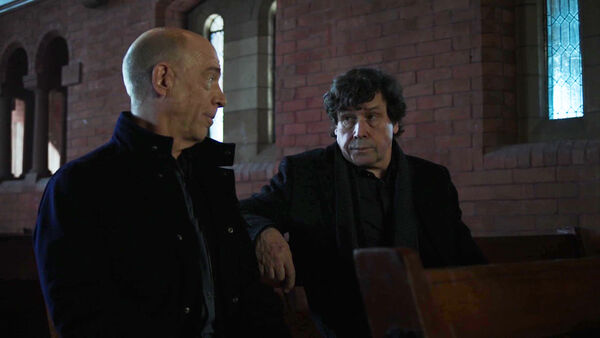 JK-Simmons-Stephen-Rea-Howard-Silk-and-Pope-Church-meeting-Counterpart-Starz-Season-1-Episode-2-Birds-of-a-Feather