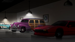 Spotlight on purple antique car