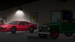Spotlight on red antique car
