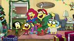 Green Christmas family group shot
