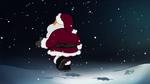 Santa walking into the night