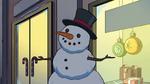 Snowman outside a store