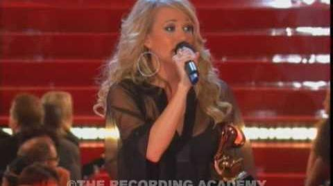 Carrie Underwood accepting the GRAMMY for Best New Artist at the 49th GRAMMY Awards