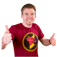 Asher posing on the Cow Chop Rooster Teeth Store.