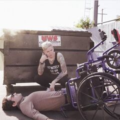Photo of a Russian hoodlum attacking a disabled man ( ͡° ͜ʖ ͡°)