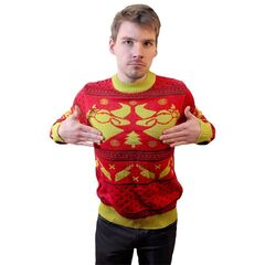 He enjoys the Cow Chop Holiday merch.