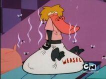 Baboon wearing Weasel's dirty diaper