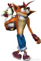 Crash Bandicoot escondiendo un pollo en Crash Tag Team Racing