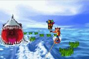 Crash Bandicoot 2 n-tranced Crash surfeando