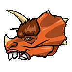 Fake triceratops head sticker