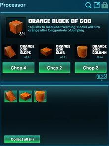 Creativerse processing orange block of goo 2018-12-21 18-26-03-23