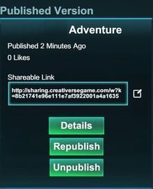 Creativerse adventure after publishing 2017-09-11