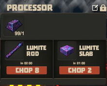 Creativerse Lumite ore to slab and rod01