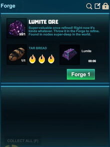 Creativerse Forge Lumite with tar bread 2017-08-07