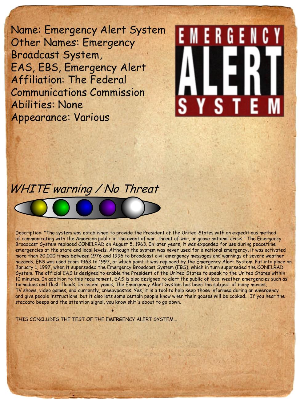Emergency Alert System Journal Entry