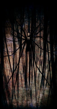 The Slender Man depicted by illustration, a figure of a slender man in the woods with many arms reaching out into the trees.
