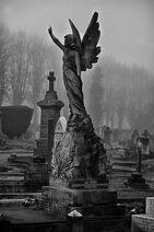 Estatua, angel, fantasma, muerto