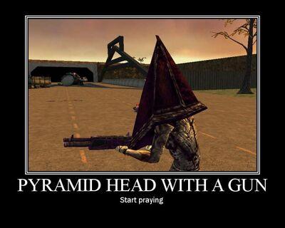 Pyramid Head With A Gun by Yohan Gas Mask