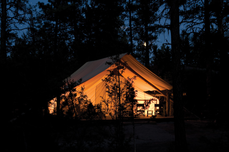 River Camp Tent Night