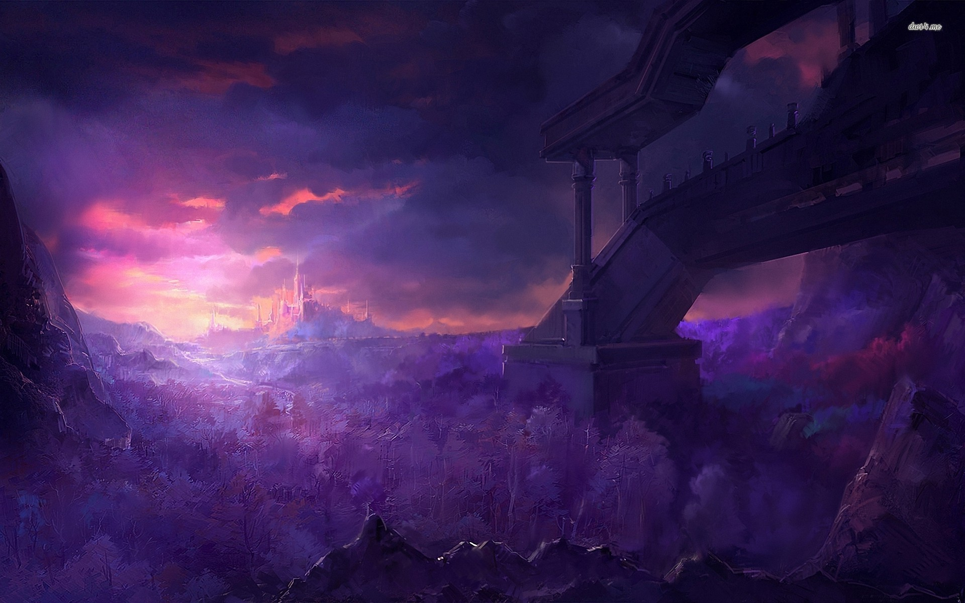 image - castle-under-the-purple-sky-fantasy-hd-wallpaper-70872