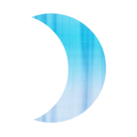 Rotated Blue Crescent Moon