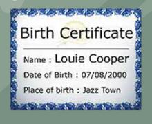Certificado de nacimiento de Louie
