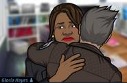 Gloria y Jones abrazándose.