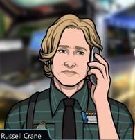 Russell Con el teléfono, triste