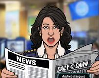 Andrea Leeyendo el Periodico