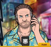 Frank Con el teléfono, disgustado