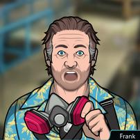 Frank Quitandose la máscara de gas