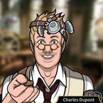 Charles con una moneda