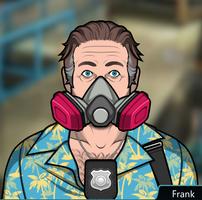 Frank Usando una máscara de gas