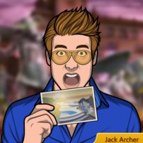 Jack soosteniendo una postal