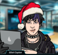 Elliot con un gorro de santa y su laptop