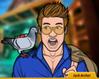 Jack con una paloma en su hombro