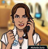 Michelle en el teléfono confiada