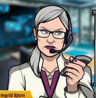 Ingrid con un control remoto, seria