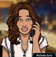 Michelle en el teléfono sorprendida