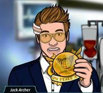 Jack con el premio de la paz