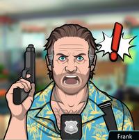 Sosteniendo su arma