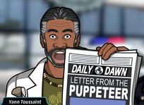 Mostrando la tapa del periódico Daily Dawn.