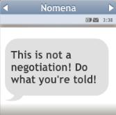 Mensaje de Lavinia a Nomena