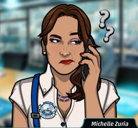 Michelle en el teléfono desconcertada