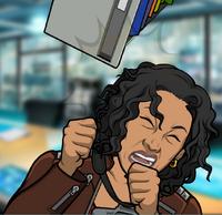 Carmen golpeada por un cajón