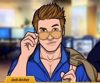 Jack sosteniendo sus lentes